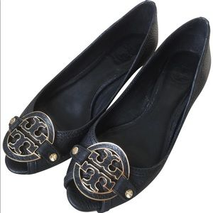 Tory Burch Amanda Semi Wedge Sandals in Black